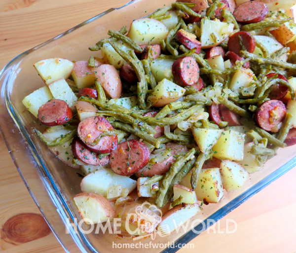 Sausage Green Bean & Potatoes Casserole for Oven
