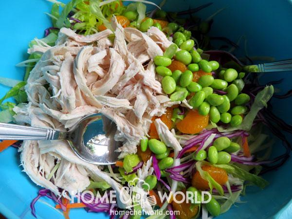 Adding Chicken to Vegetables