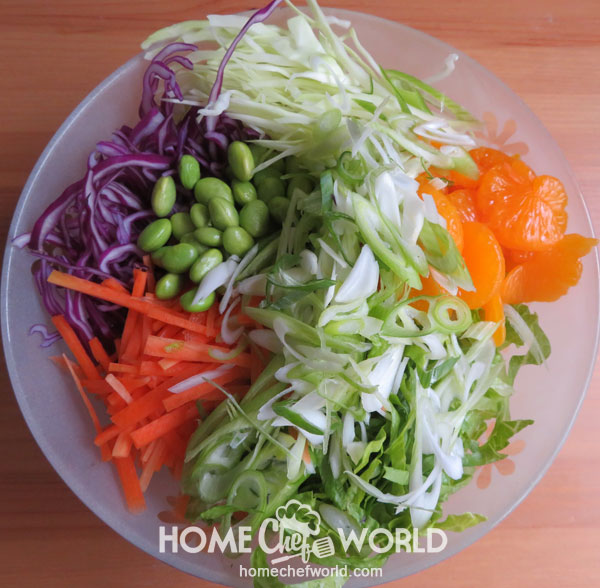 Assembling Vegetables for Asian Chicken Salad