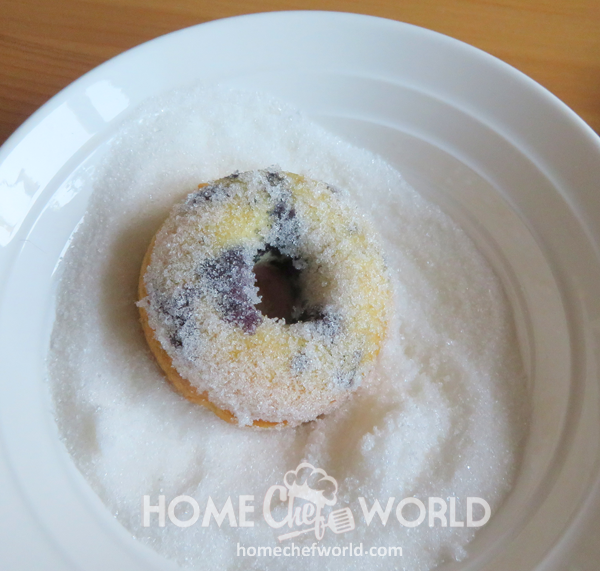 Baked Blueberry Donuts Roll in sugar