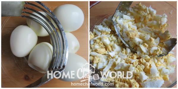 Chopping Eggs for BLT Egg Salad