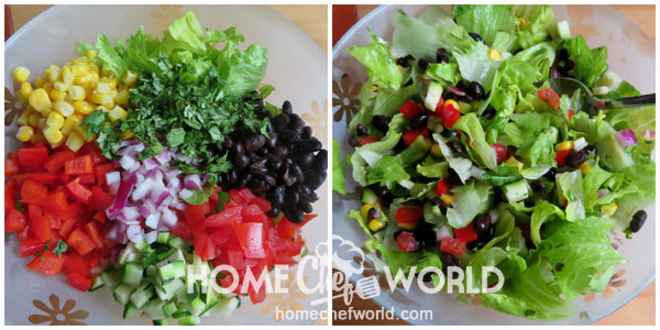 Combining salad Ingredients in the Bowl