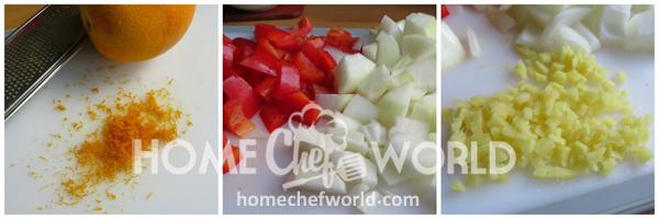 Crispy Orange Beef Prepping Vegetables