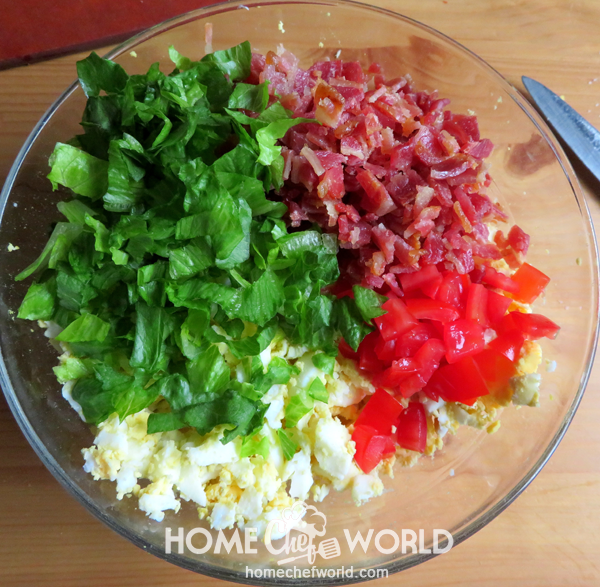 Getting Ready to Combine Ingredients for BLT Egg Salad