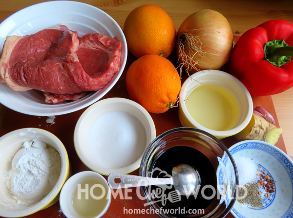 Ingredients for Crispy Orange Beef