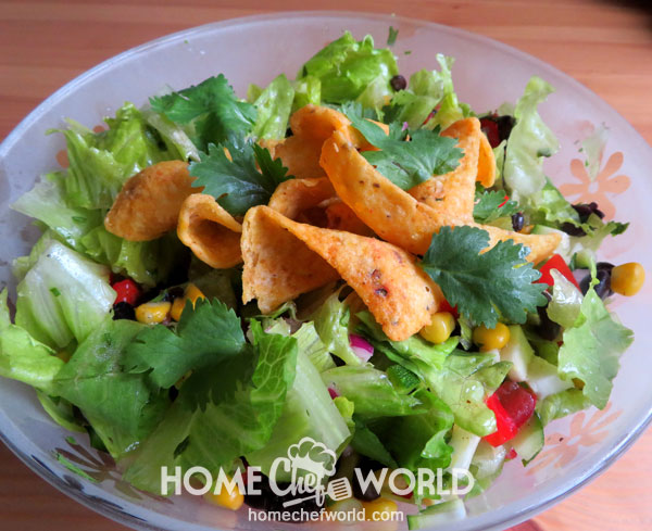 Mexican Chopped Salad Garnish with Coriander and Chips
