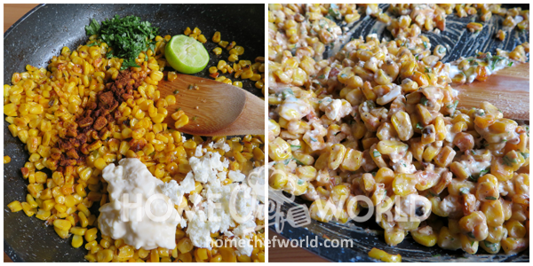 Mexican Corn Dip Adding Ingredients